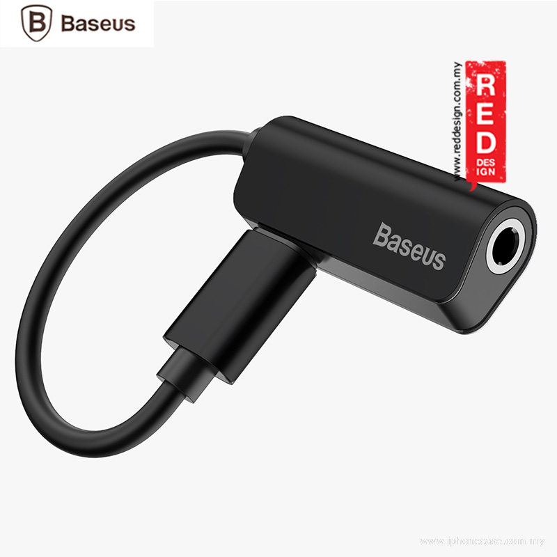 Picture of Baseus L32 iP MALE to 3.5mm and iP FEMALE Audio and Charging Adapter - Black