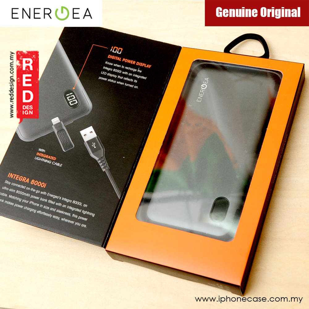 Picture of Energea Integra 8000i 8000mAh Slim Power Bank with built in Lightning Cable (Gunmetal)
