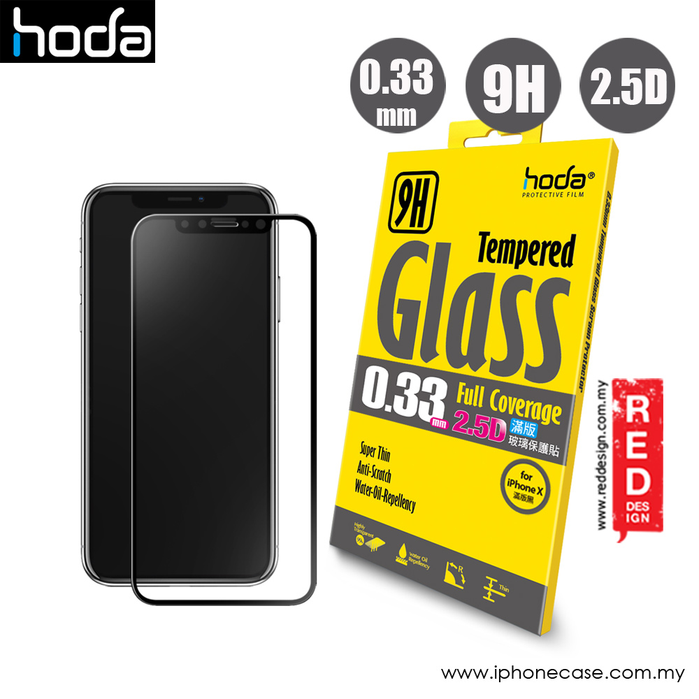 low priced 03dd6 a4754 Hoda 0.33mm Full Coverage Tempered Glass Screen Protector for Apple iPhone  X Xs (Black)