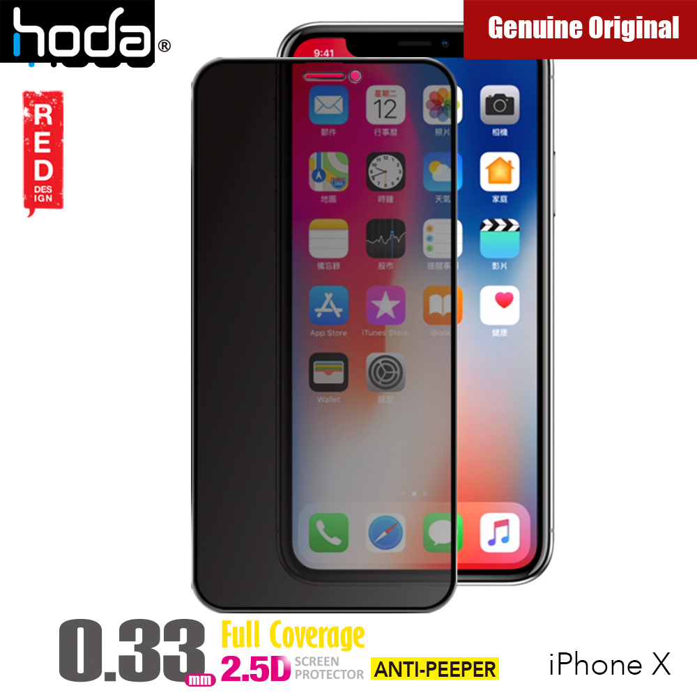 best loved e9170 7a814 Hoda 0.33mm Full Coverage Tempered Glass Screen Protector for Apple iPhone  XS iPhone X (Anti Peeper Black)