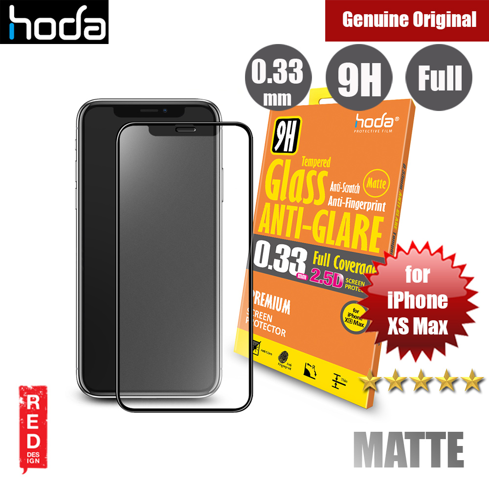 hot sale online 2618a 3a003 Hoda 0.33mm Full Coverage Anti Glare Anti Finger Print Matte Tempered Glass  Screen Protector for Apple iPhone XS Max (Black)