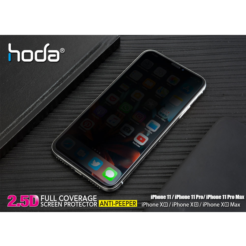 "Picture of Apple iPhone XR Screen Protector | Hoda 0.33mm Full Coverage Privacy Tempered Glass Screen Protector for Apple iPhone XR 6.1"" (Anti Peeper Anti View Black)"