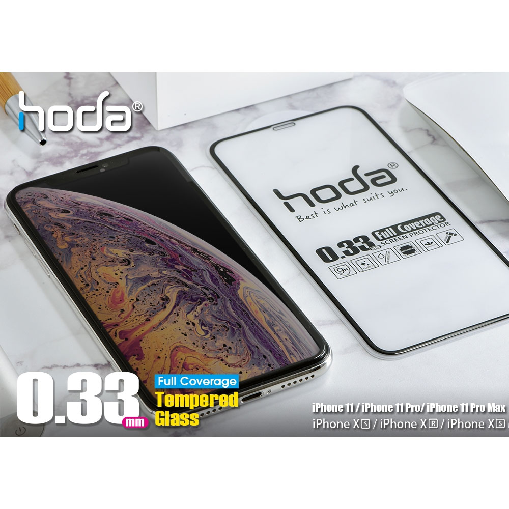 Picture of Apple iPhone 11 Pro 5.8 Screen Protector   Hoda 0.33mm Full Coverage Tempered Glass Screen Protector for Apple iPhone 11 Pro 5.8  (Black)