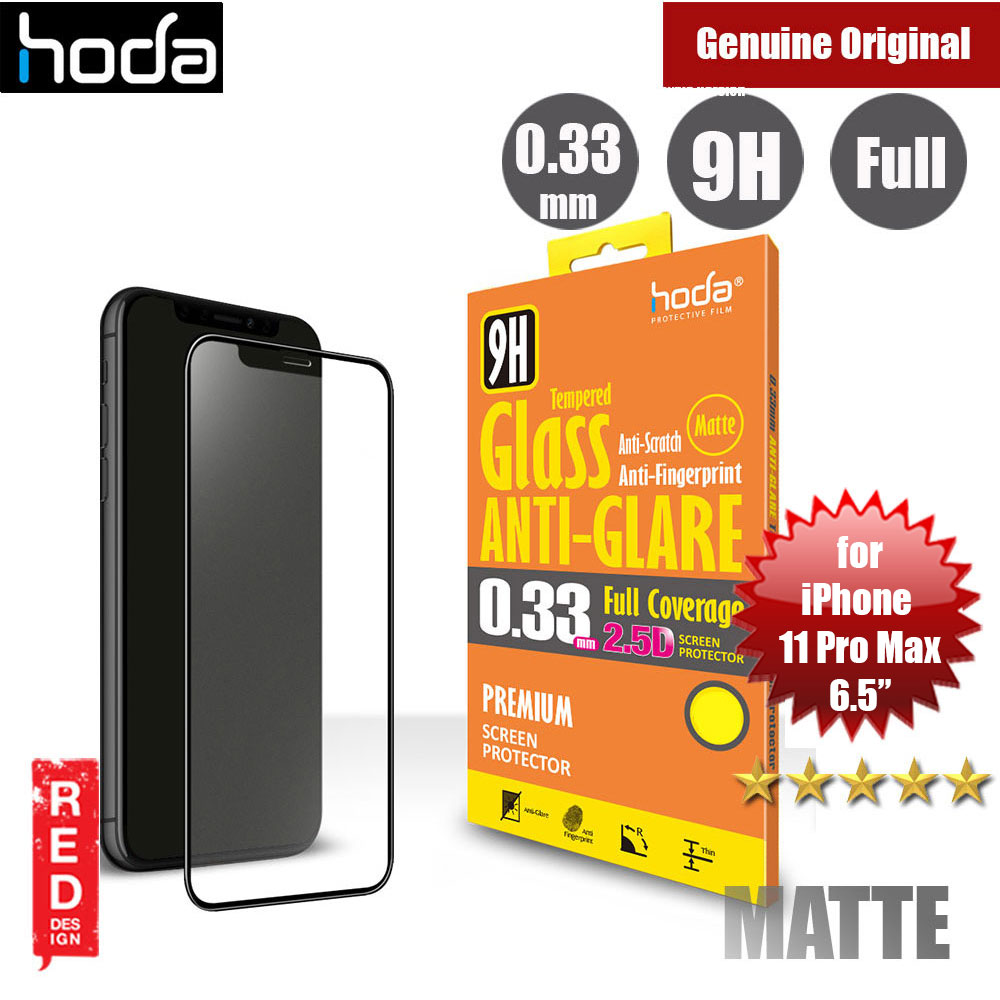 Picture of Apple iPhone 11 Pro Max 6.5 Screen Protector | Hoda 0.33mm Full Coverage Anti Glare Anti Finger Print Matte Tempered Glass Screen Protector for Apple iPhone 11 Pro Max 6.5 (Black)