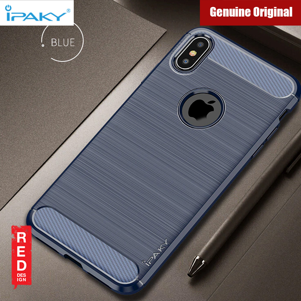 save off 2279d 793d6 iPaky Luxury Carbon Fiber Texture Rugged Silicone Shock Proof Case for  Apple iPhone XS Max (Blue)