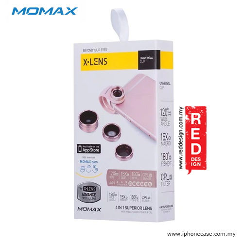 Picture of Momax X-Lens Universal Clip 4 in 1 Superior Lens Wide Angle Macro CPL Filter Fish Eye Smartphone Lens - Rose Gold
