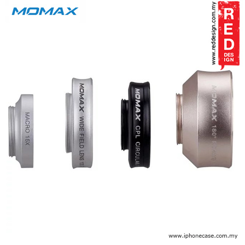 Picture of Momax X-Lens Universal Clip 4 in 1 Superior Lens Wide Angle Macro CPL Filter Fish Eye Smartphone Lens - Silver