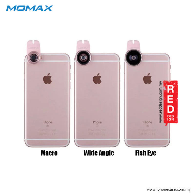 Picture of Momax X-Lens Universal Clip 3 in 1 Superior Lens Wide Angle Macro Fish Eye Smartphone Lens - Rose Gold