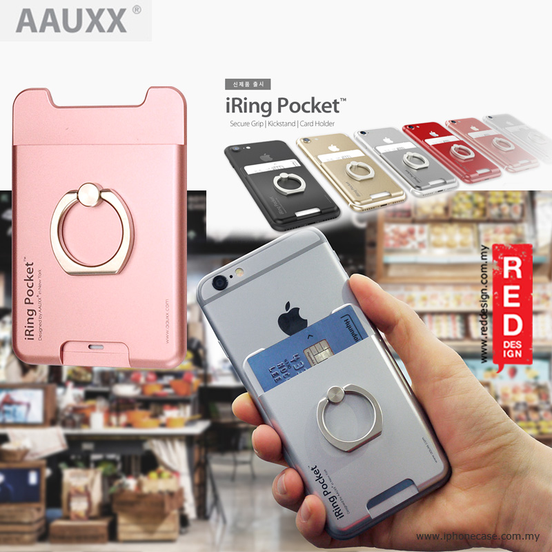 best sneakers dc0d7 e835d AAUXX iRing Pocket Card Holder With Universal Phone Grip and Stand - Rose  Gold