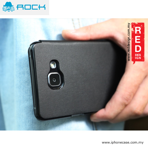 new product c6dc7 7f007 Rock Touch Series Flip Cover Case for Galaxy A7 A7100 2016 Edition - Black