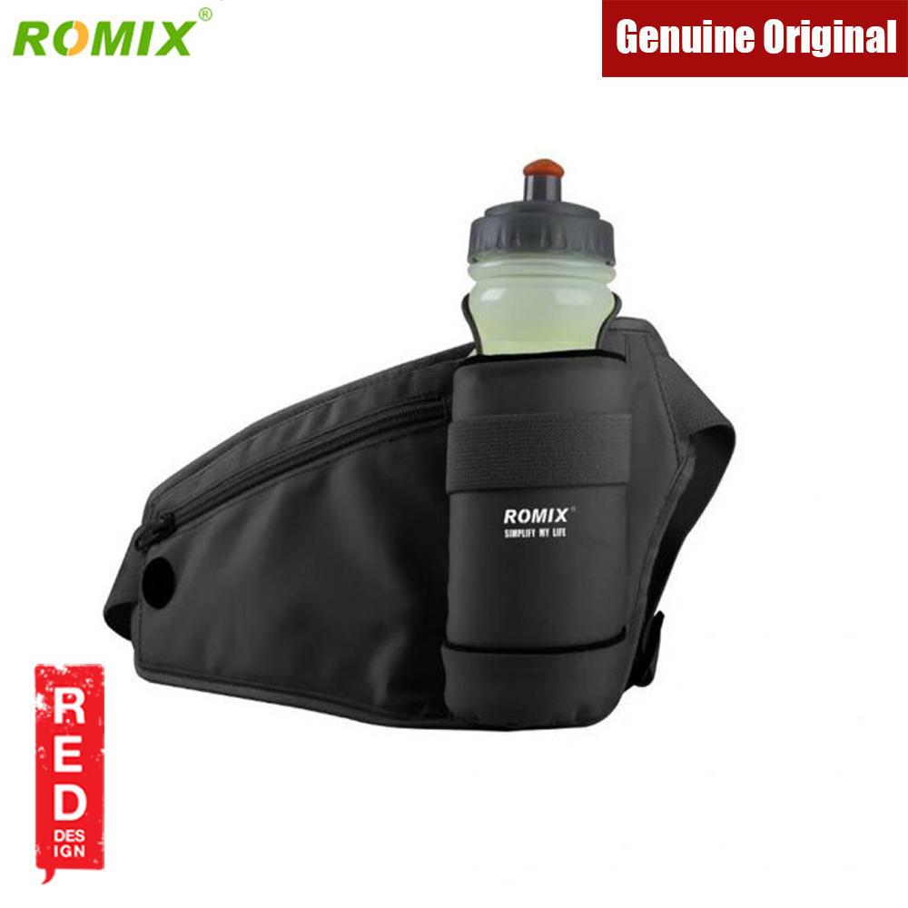 Picture of Romix Waterproof sports waist belt with bottle pockets for running cycling climbing (Black)