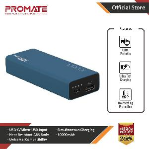 Picture of Promate USB C Power Bank Ultra-Slim 10000mAh Input Output Type-C External Battery Pack with 2.1A USB Charging Port and Over-Heating Protection for iPhone Samsung Pixel Type-c iPad Pro Energi-10C (Black)