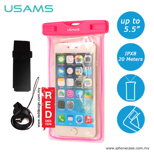 buy online 2dbe7 9f150 USAMS Mobile Smartphone IPX8 Waterproof Bag for Smartphone up to 5.5 inches  Note 6 S7 Edge iPhone 6 Plus iPhone 7 Plus - Pink