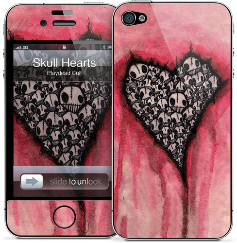 Picture of Apple iPhone 4S  | Gelaskins for Apple iPhone 4 4s - Skull Hearts