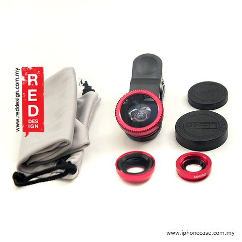 Picture of Universal 3 in 1 Solution Len Fish Eye Wide Angle Macro Lens for iPhone Samsung Phone - Red