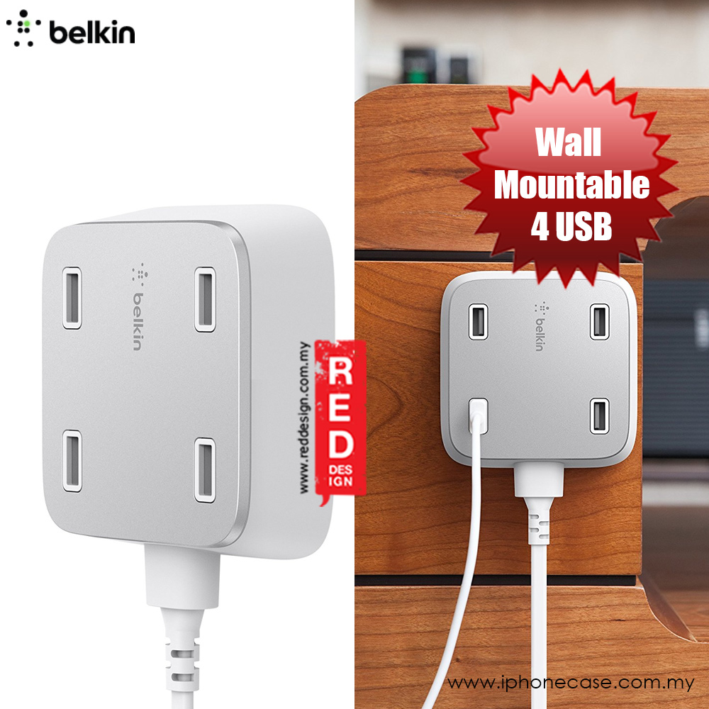 Picture of Belkin Family Rockstar 2.4 A 4 USB Port Wall Mountable USB Charger with 3 m length (White)