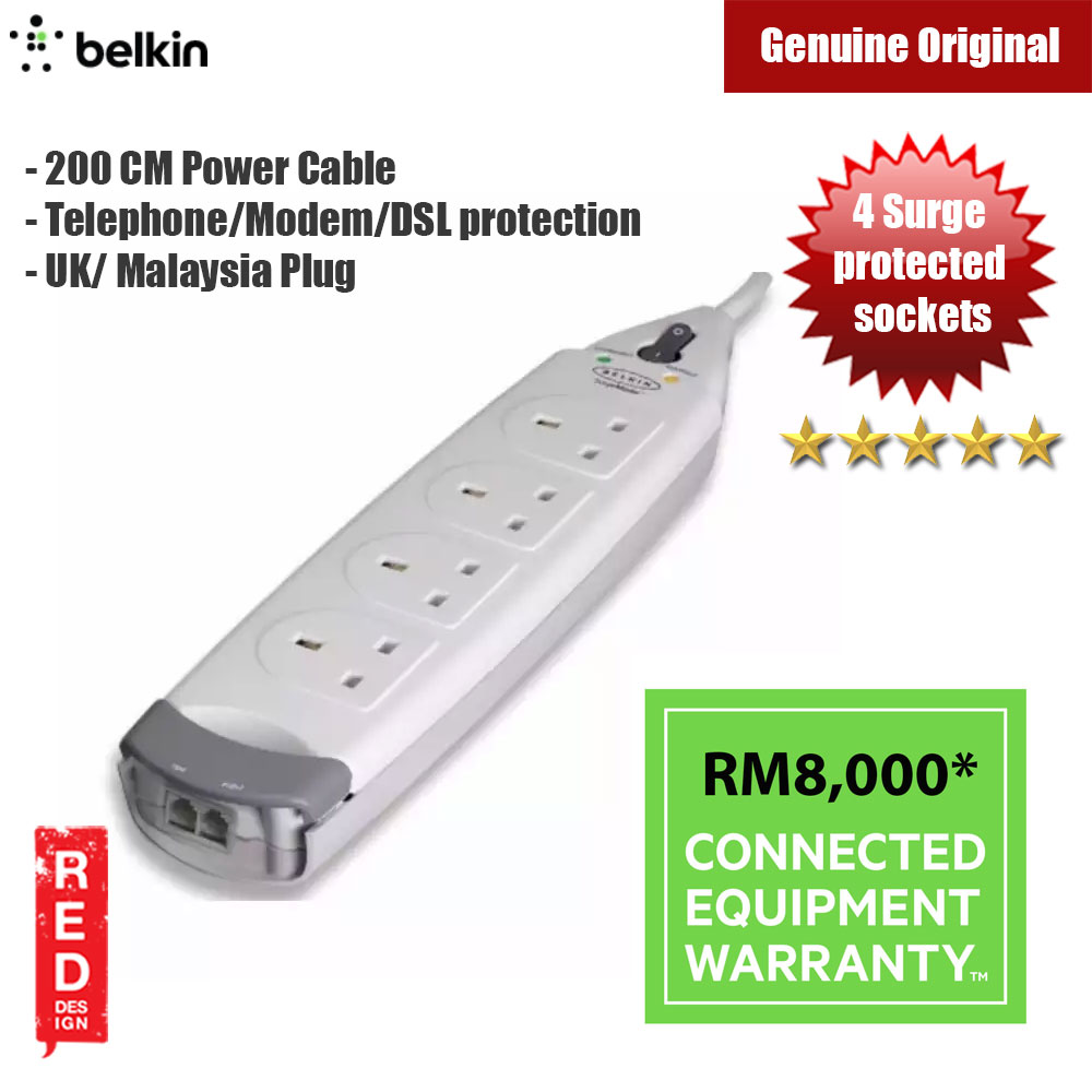 Picture of Belkin Home Series 4-Socket Surge Protector Telephone / Modem / DSL protection 200cm Power Cable UK Plug Red Design- Red Design Cases, Red Design Covers, iPad Cases and a wide selection of Red Design Accessories in Malaysia, Sabah, Sarawak and Singapore