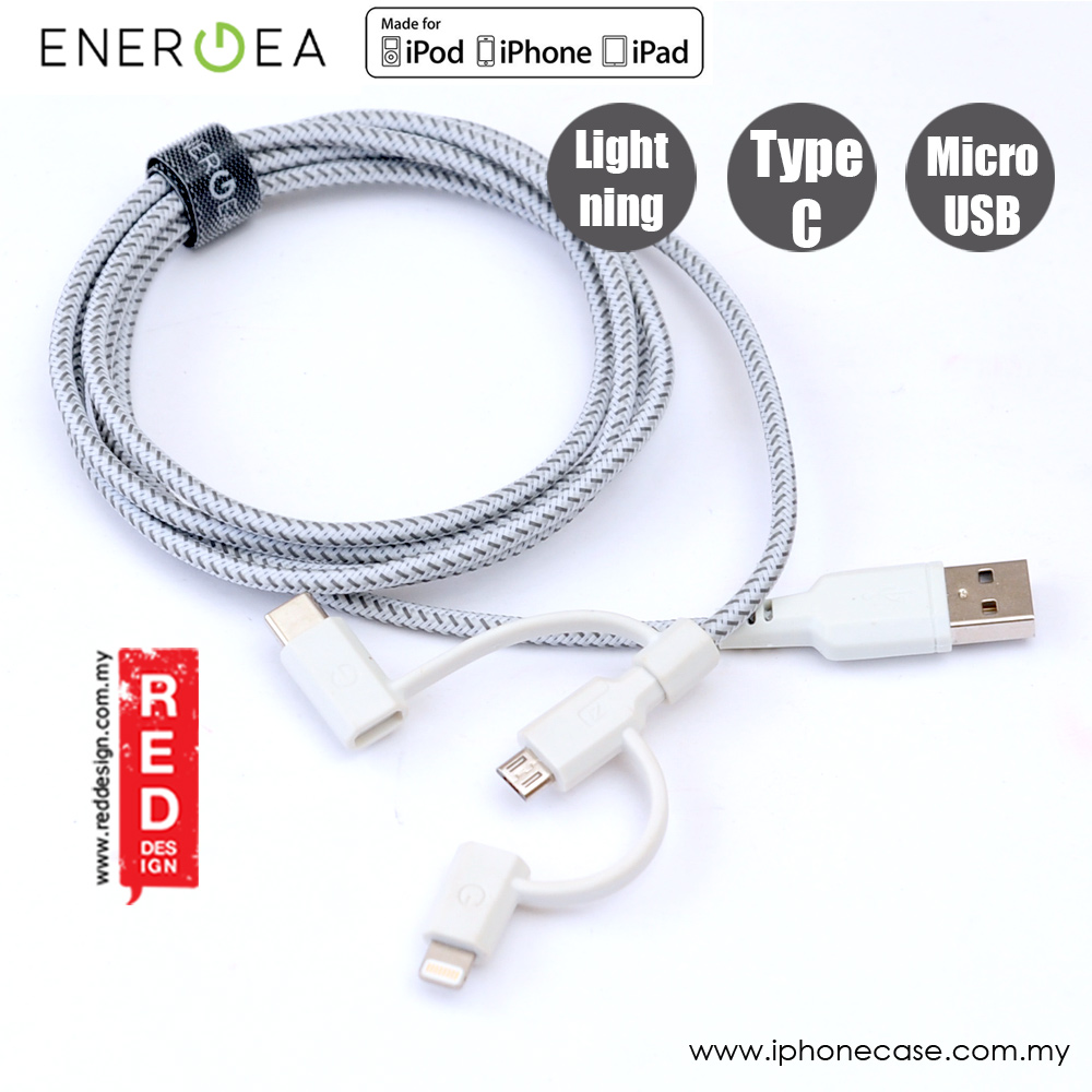 Picture of Energea NYLOTOUGH 3 in 1 MFI Lightning MicroUSB Type C Rapid Charge and Sync Braid Cable 1.5M (White)