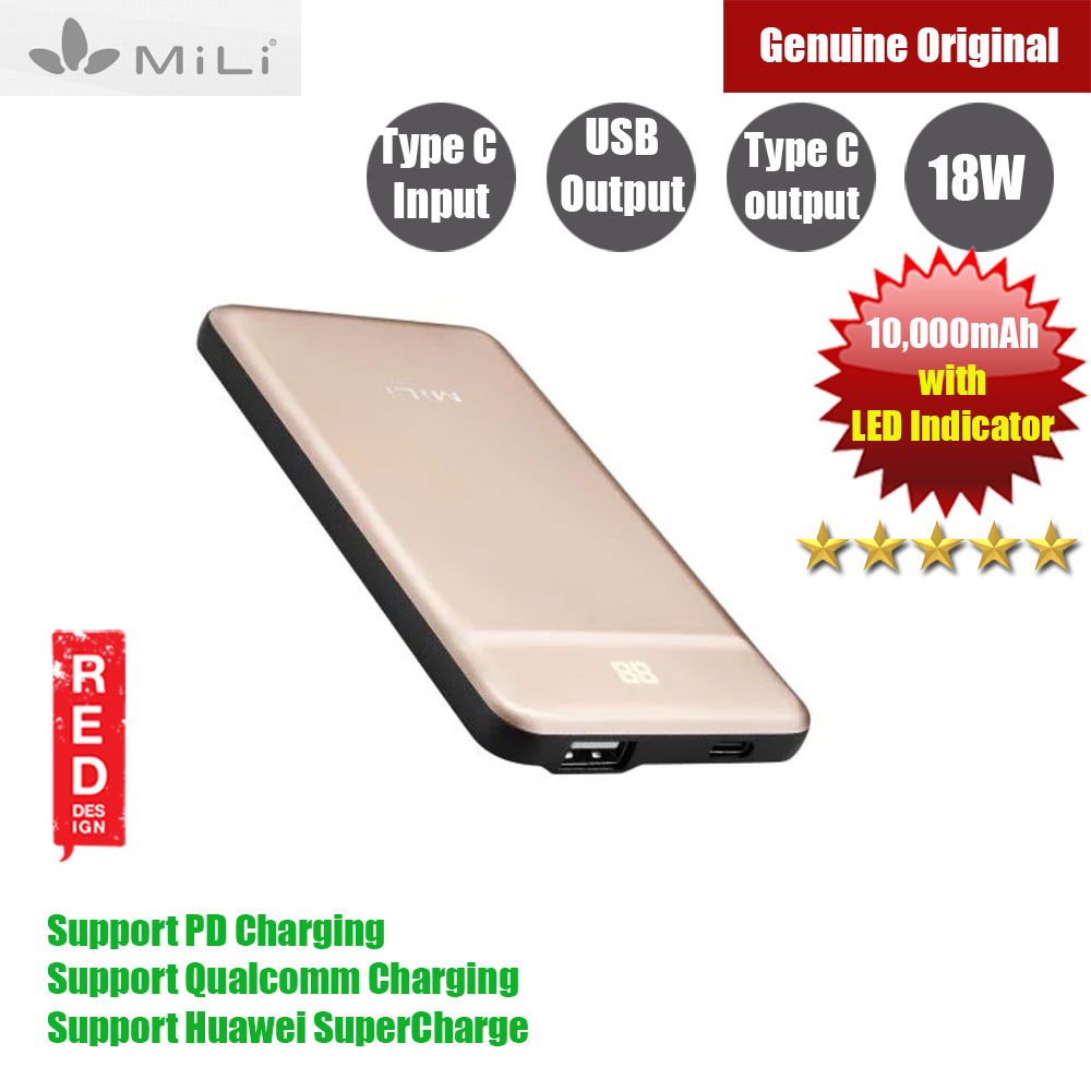 Picture of Mili Power Nova III Power bank PD Charging QC 3.0 Huawei Super Charge with battery indicator 10000mAh (Gold) Red Design- Red Design Cases, Red Design Covers, iPad Cases and a wide selection of Red Design Accessories in Malaysia, Sabah, Sarawak and Singapore
