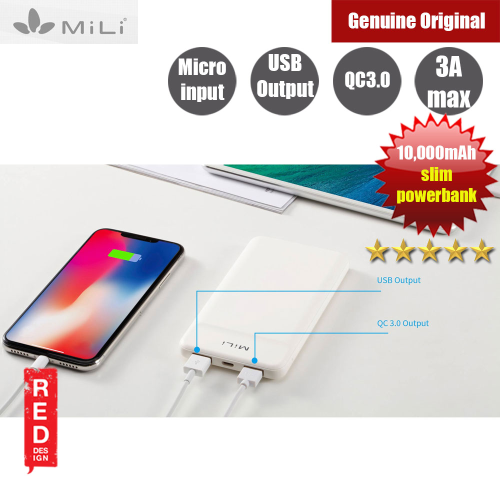 Picture of MiLi Power Shine Ⅱ Qualcomm 3.0 Slim Power Bank 10000mAh (White) Red Design- Red Design Cases, Red Design Covers, iPad Cases and a wide selection of Red Design Accessories in Malaysia, Sabah, Sarawak and Singapore