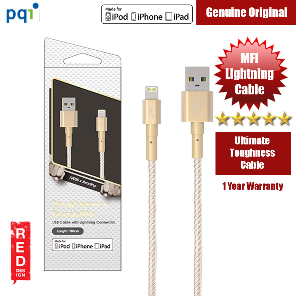 Picture of PQI i-Cable Ultimate Toughness Lightning Cable (Gold) Red Design- Red Design Cases, Red Design Covers, iPad Cases and a wide selection of Red Design Accessories in Malaysia, Sabah, Sarawak and Singapore