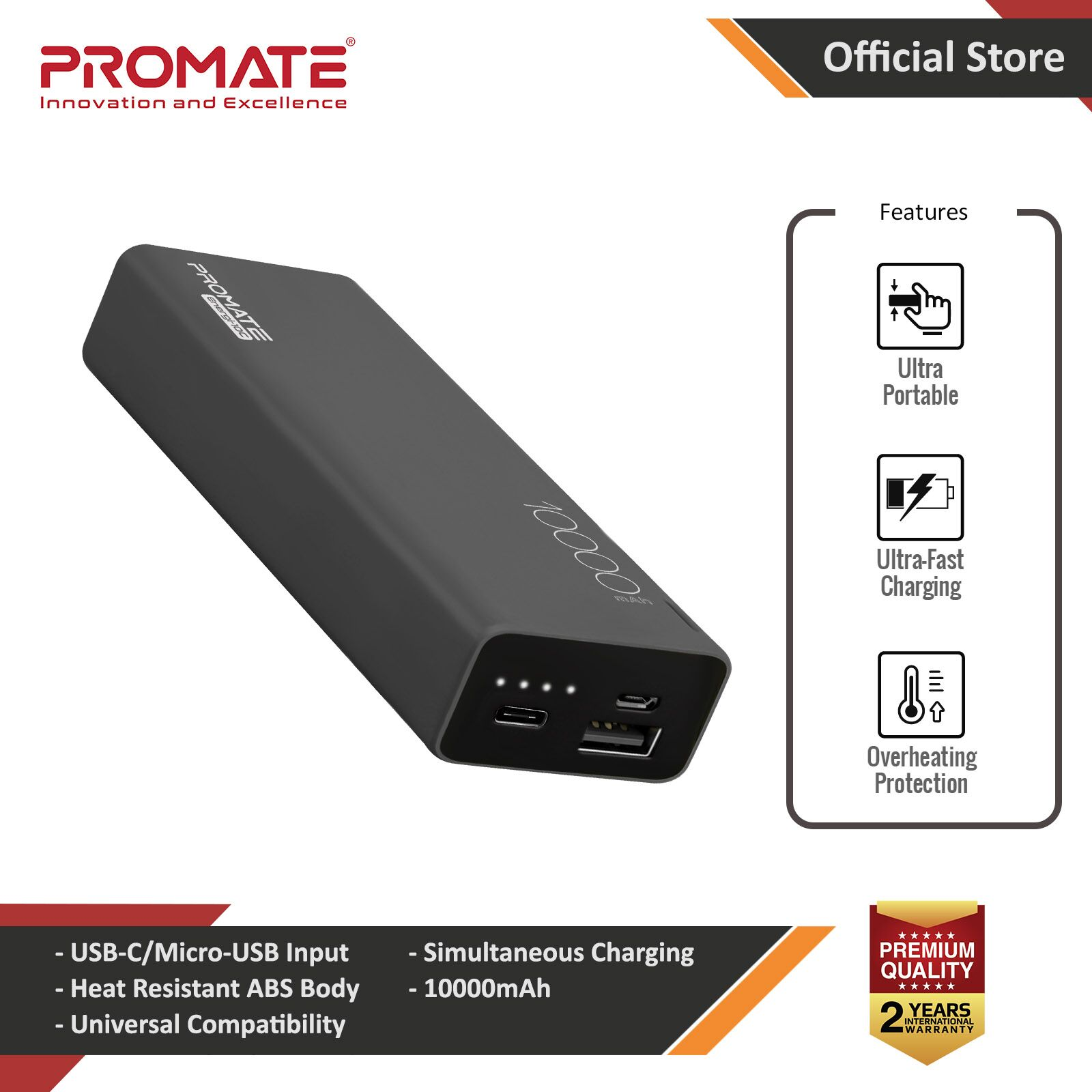 Picture of Promate USB C Power Bank Ultra-Slim 10000mAh Input Output Type-C External Battery Pack with 2.1A USB Charging Port and Over-Heating Protection for iPhone Samsung Pixel Type-c iPad Pro Energi-10C (Black) Red Design- Red Design Cases, Red Design Covers, iPad Cases and a wide selection of Red Design Accessories in Malaysia, Sabah, Sarawak and Singapore