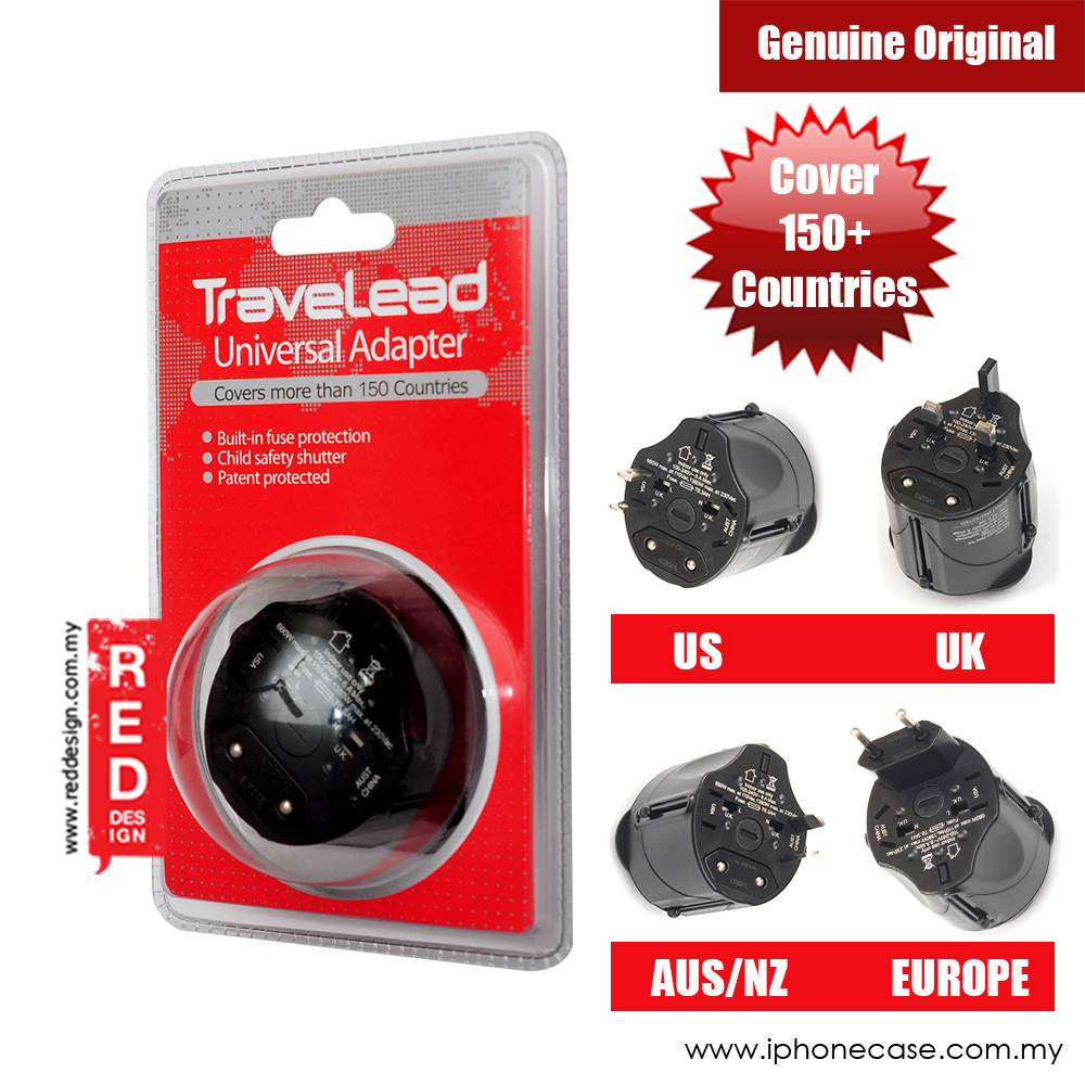 Picture of TRAVELEAD World Travel Adapter (Black) Red Design- Red Design Cases, Red Design Covers, iPad Cases and a wide selection of Red Design Accessories in Malaysia, Sabah, Sarawak and Singapore