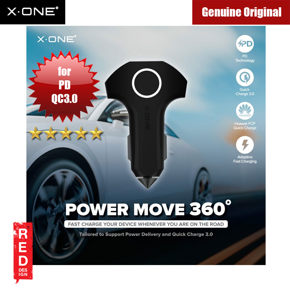Picture of X.One Power Move 360 Degree 3 Output Ultra Fast In-car Charger with PD and QC3.0 for Android IOS USB Powered Devices Red Design- Red Design Cases, Red Design Covers, iPad Cases and a wide selection of Red Design Accessories in Malaysia, Sabah, Sarawak and Singapore