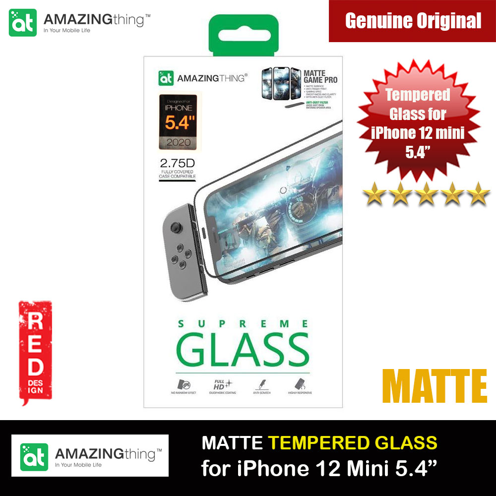 Picture of AMAZINGThing Supreme Glass 2.75D Matte Game Pro Gaming Anti Finger Print Tempered Glass for iPhone12 Mini 5.4 with dust filter (Matte) Apple iPhone 12 mini 5.4- Apple iPhone 12 mini 5.4 Cases, Apple iPhone 12 mini 5.4 Covers, iPad Cases and a wide selection of Apple iPhone 12 mini 5.4 Accessories in Malaysia, Sabah, Sarawak and Singapore