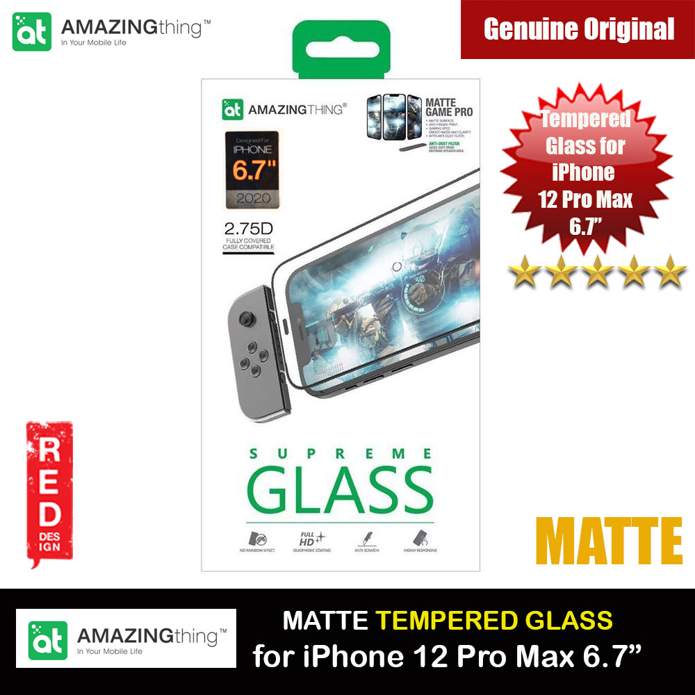 Picture of AMAZINGThing Supreme Glass 2.75D Matte Game Pro Gaming Anti Finger Print Tempered Glass for iPhone 12 Pro Max 6.7 with dust filter (Matte) Apple iPhone 12 Pro Max 6.7- Apple iPhone 12 Pro Max 6.7 Cases, Apple iPhone 12 Pro Max 6.7 Covers, iPad Cases and a wide selection of Apple iPhone 12 Pro Max 6.7 Accessories in Malaysia, Sabah, Sarawak and Singapore