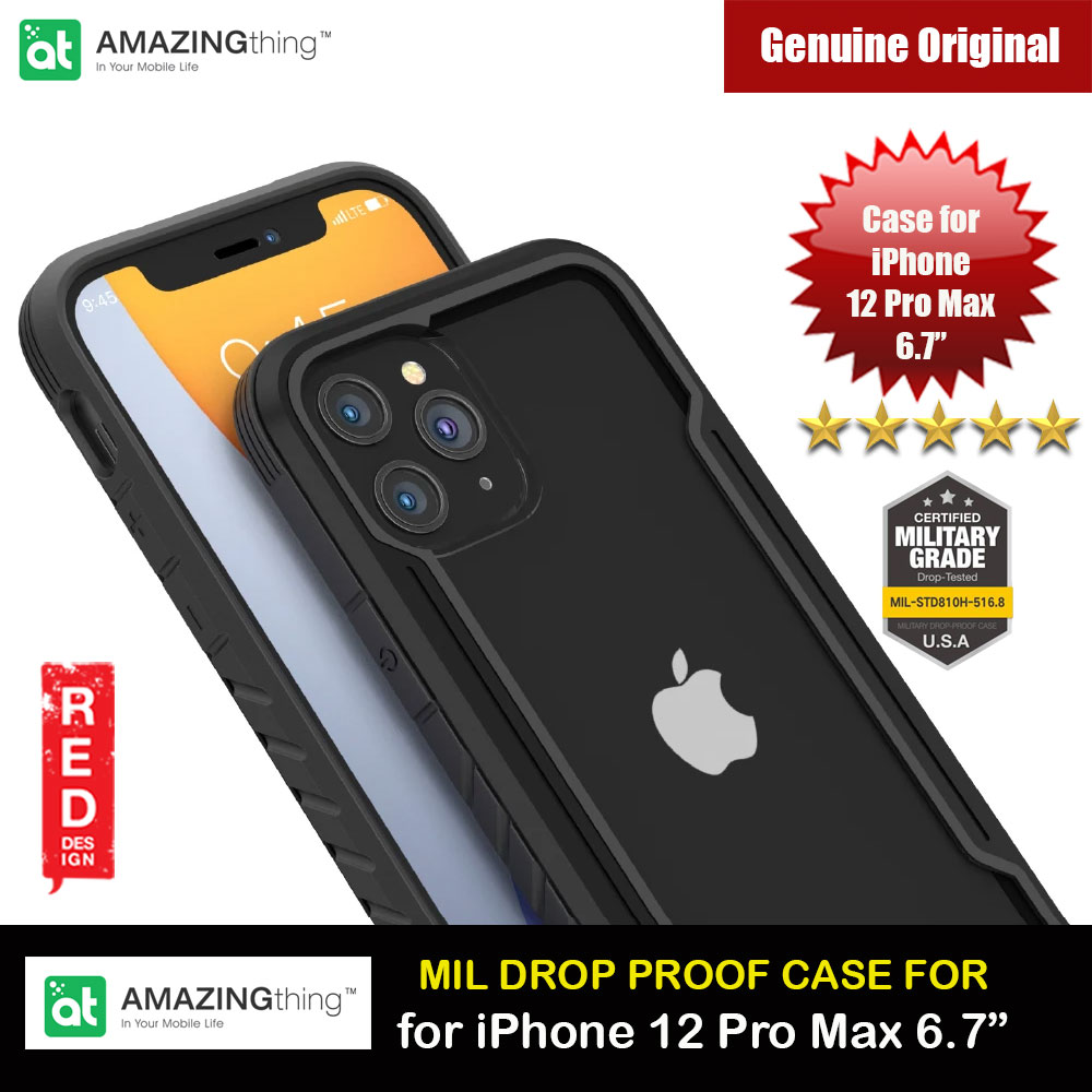Picture of Amazingthing Military Drop Proof Case for iPhone 12 Pro Max 6.7 (Black) Apple iPhone 12 Pro Max 6.7- Apple iPhone 12 Pro Max 6.7 Cases, Apple iPhone 12 Pro Max 6.7 Covers, iPad Cases and a wide selection of Apple iPhone 12 Pro Max 6.7 Accessories in Malaysia, Sabah, Sarawak and Singapore