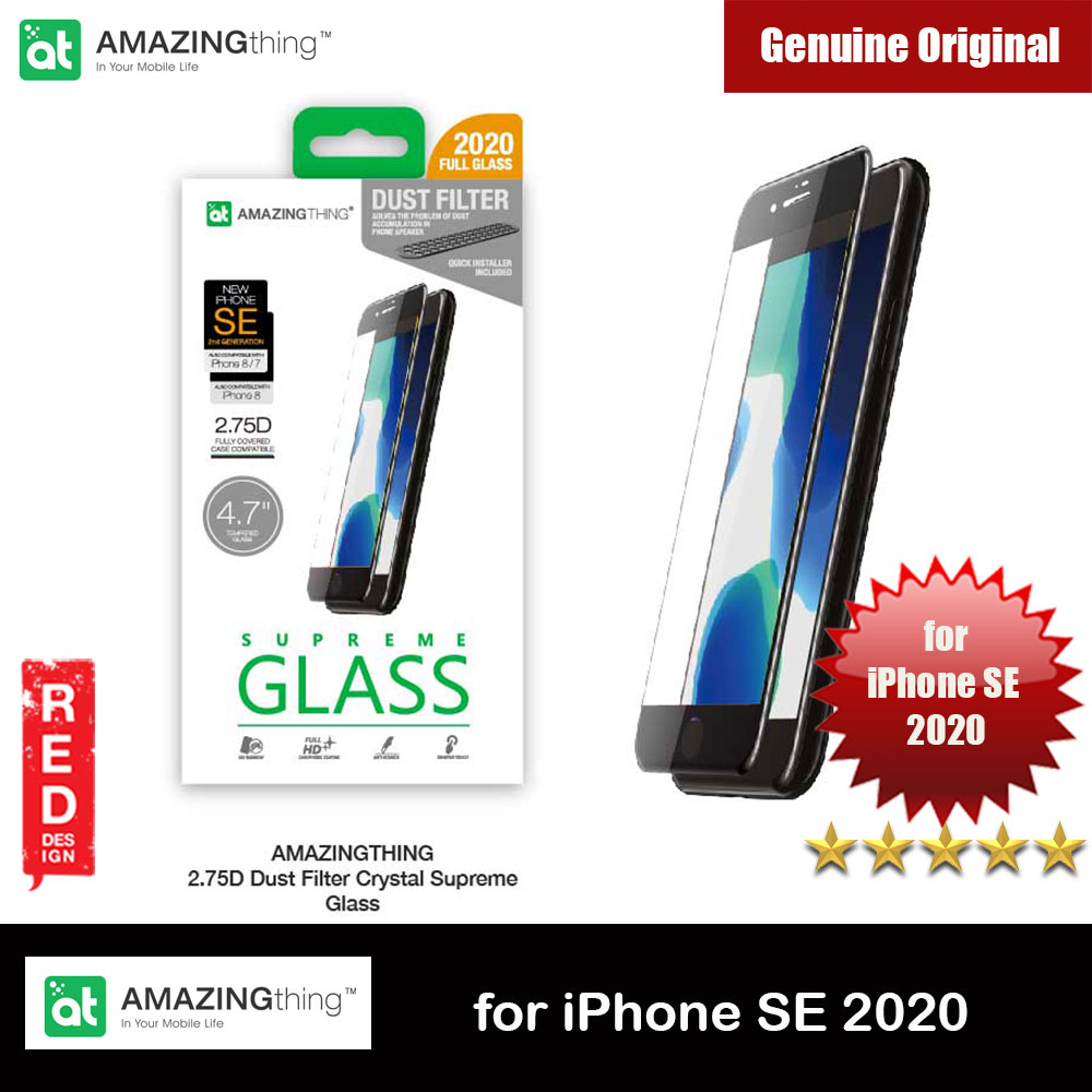 Picture of AMAZINGthing SUPREME GLASS DUST FILTER for iPhone SE (2020) Full Glass 0.3mm 2.75D Black for Apple iPhone SE 4.7 2020 (Glossy Black) Apple iPhone SE 2020- Apple iPhone SE 2020 Cases, Apple iPhone SE 2020 Covers, iPad Cases and a wide selection of Apple iPhone SE 2020 Accessories in Malaysia, Sabah, Sarawak and Singapore