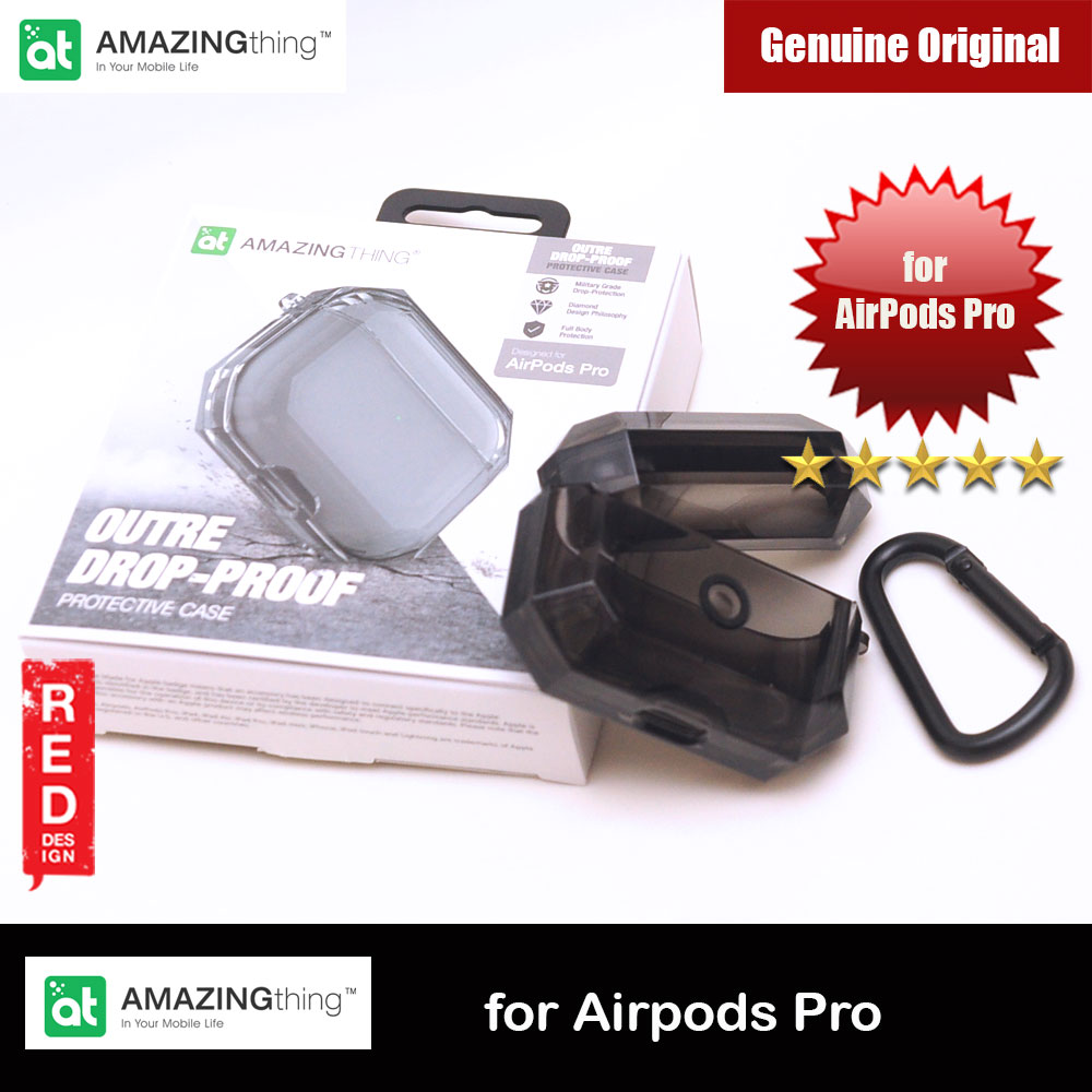 Picture of Amazing Drop Protection Silicone Case Outre Drop Proof with Carabiner for Airpods Pro (Transparent Black) Apple Airpods Pro- Apple Airpods Pro Cases, Apple Airpods Pro Covers, iPad Cases and a wide selection of Apple Airpods Pro Accessories in Malaysia, Sabah, Sarawak and Singapore