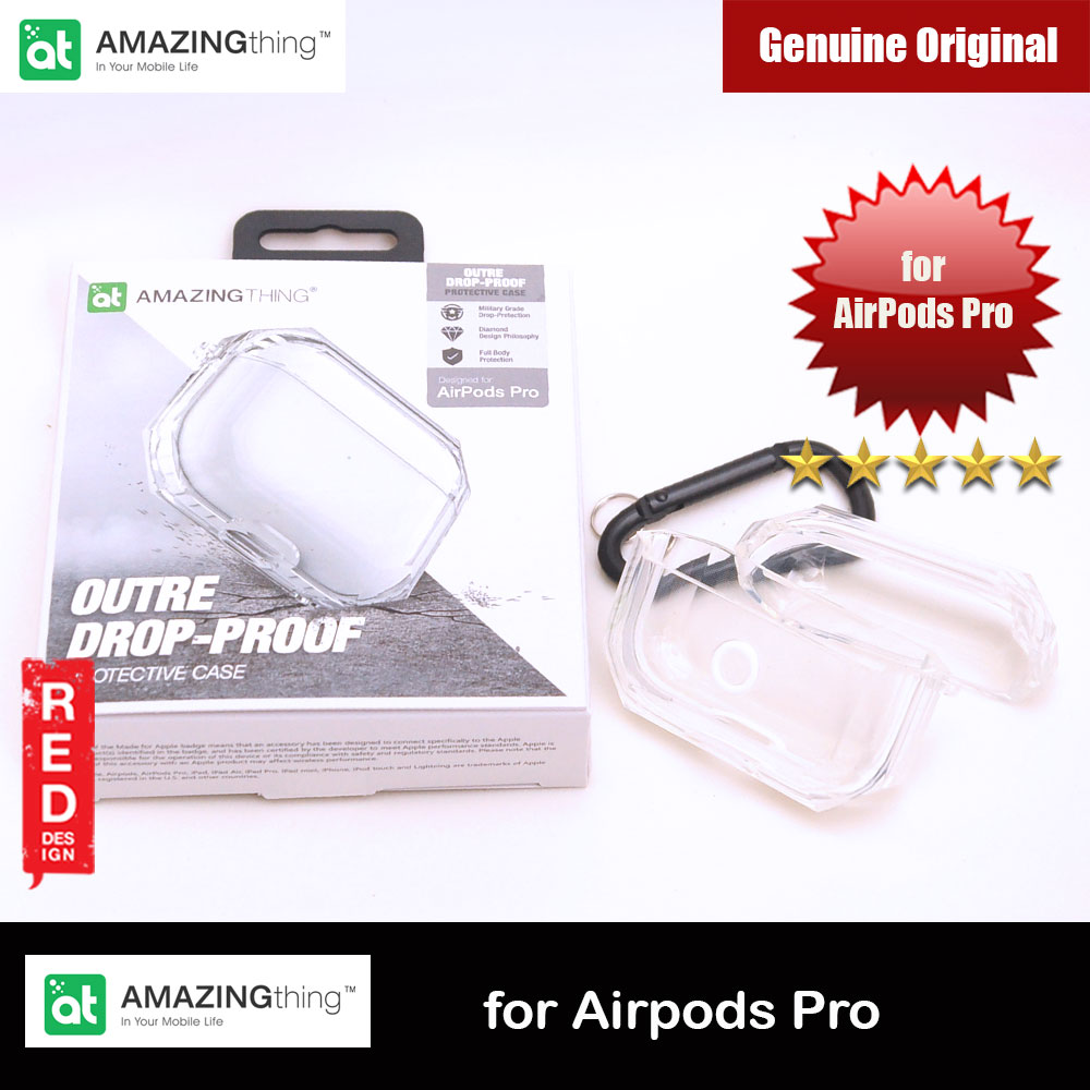 Picture of Amazing Drop Protection Silicone Case Outre Drop Proof with Carabiner for Airpods Pro (Transparent Clear) Apple Airpods Pro- Apple Airpods Pro Cases, Apple Airpods Pro Covers, iPad Cases and a wide selection of Apple Airpods Pro Accessories in Malaysia, Sabah, Sarawak and Singapore