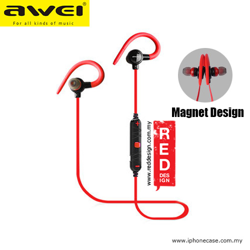 Picture of Awei Magnet Bluetooth Wireless Sports Earphones with Ear Hook A620BL Red Design- Red Design Cases, Red Design Covers, iPad Cases and a wide selection of Red Design Accessories in Malaysia, Sabah, Sarawak and Singapore