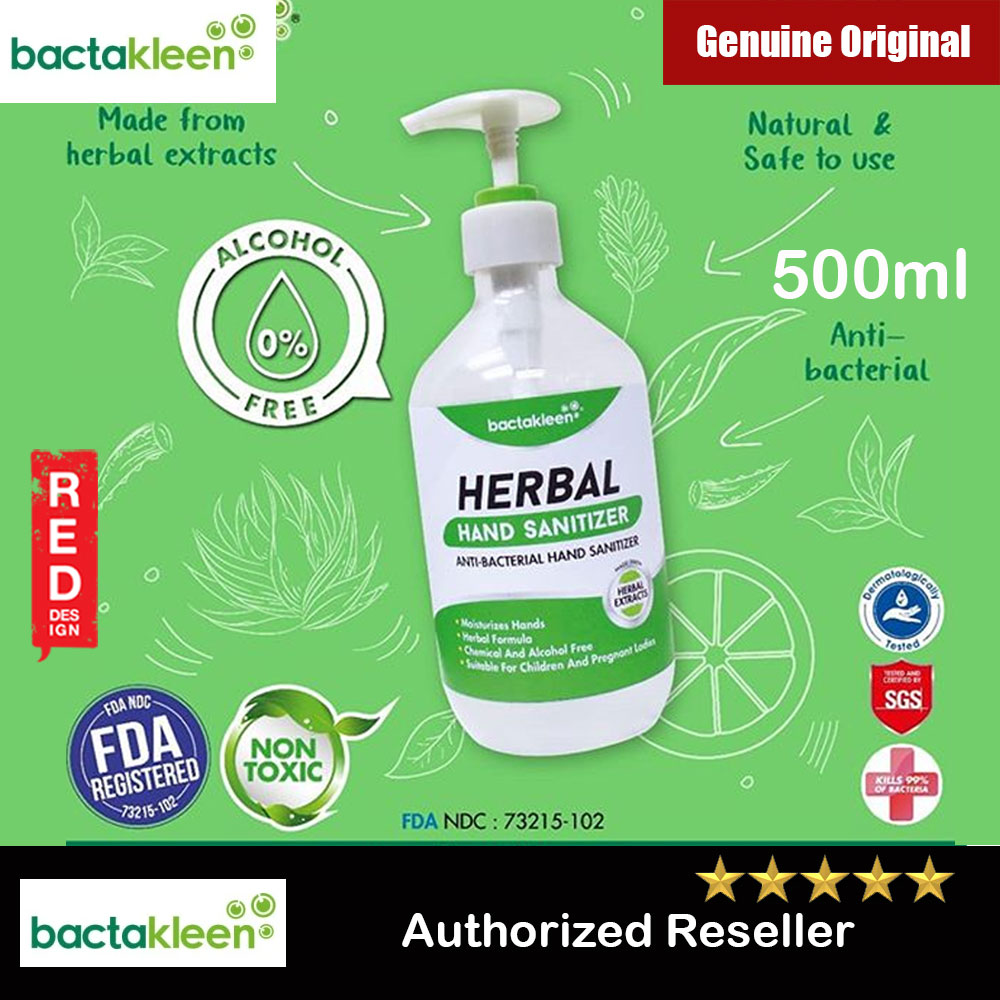 Picture of Bactakleen Herbal Hand Sanitizer Moisturizes FDA Approve Kill bacteria Fungus Virus for all age groups children pregnant ladies non toxic non alcohol no perfume no chemical (500ml) Red Design- Red Design Cases, Red Design Covers, iPad Cases and a wide selection of Red Design Accessories in Malaysia, Sabah, Sarawak and Singapore