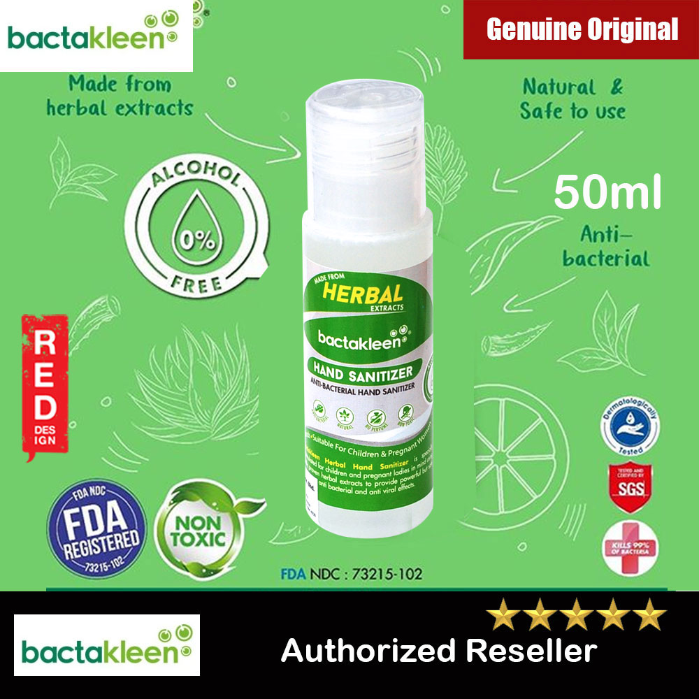 Picture of Bactakleen Herbal Hand Sanitizer Moisturizes FDA Approve Kill bacteria Fungus Virus for all age groups children pregnant ladies non toxic non alcohol no perfume no chemical (50ml) Red Design- Red Design Cases, Red Design Covers, iPad Cases and a wide selection of Red Design Accessories in Malaysia, Sabah, Sarawak and Singapore