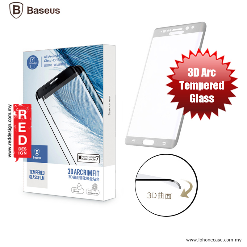 Picture of Baseus 3D Arc Rimfit Full Screen Tempered Glass for Samsung Galaxy Note 7 Note FE - Silver Samsung Galaxy Note 7 Note FE- Samsung Galaxy Note 7 Note FE Cases, Samsung Galaxy Note 7 Note FE Covers, iPad Cases and a wide selection of Samsung Galaxy Note 7 Note FE Accessories in Malaysia, Sabah, Sarawak and Singapore