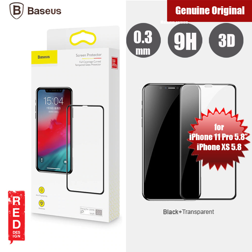 "Picture of Baseus 3D Full Coverage Tempered Glass for Apple iPhone XS iPhone X iPhone 11 Pro 5.8"" (Black) Apple iPhone XS- Apple iPhone XS Cases, Apple iPhone XS Covers, iPad Cases and a wide selection of Apple iPhone XS Accessories in Malaysia, Sabah, Sarawak and Singapore"