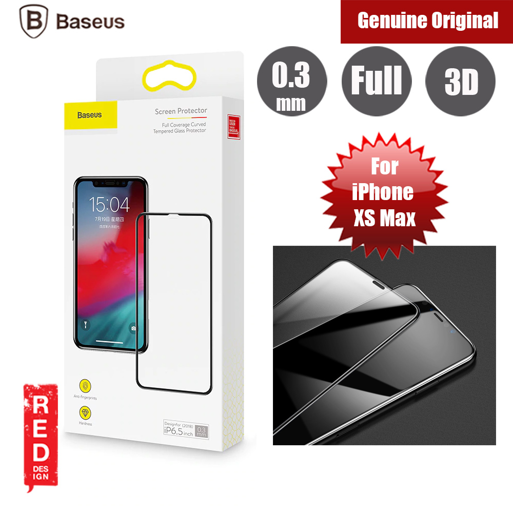 more photos e9818 1dc55 Baseus 3D Full Coverage Tempered Glass for Apple iPhone XS Max (Black)