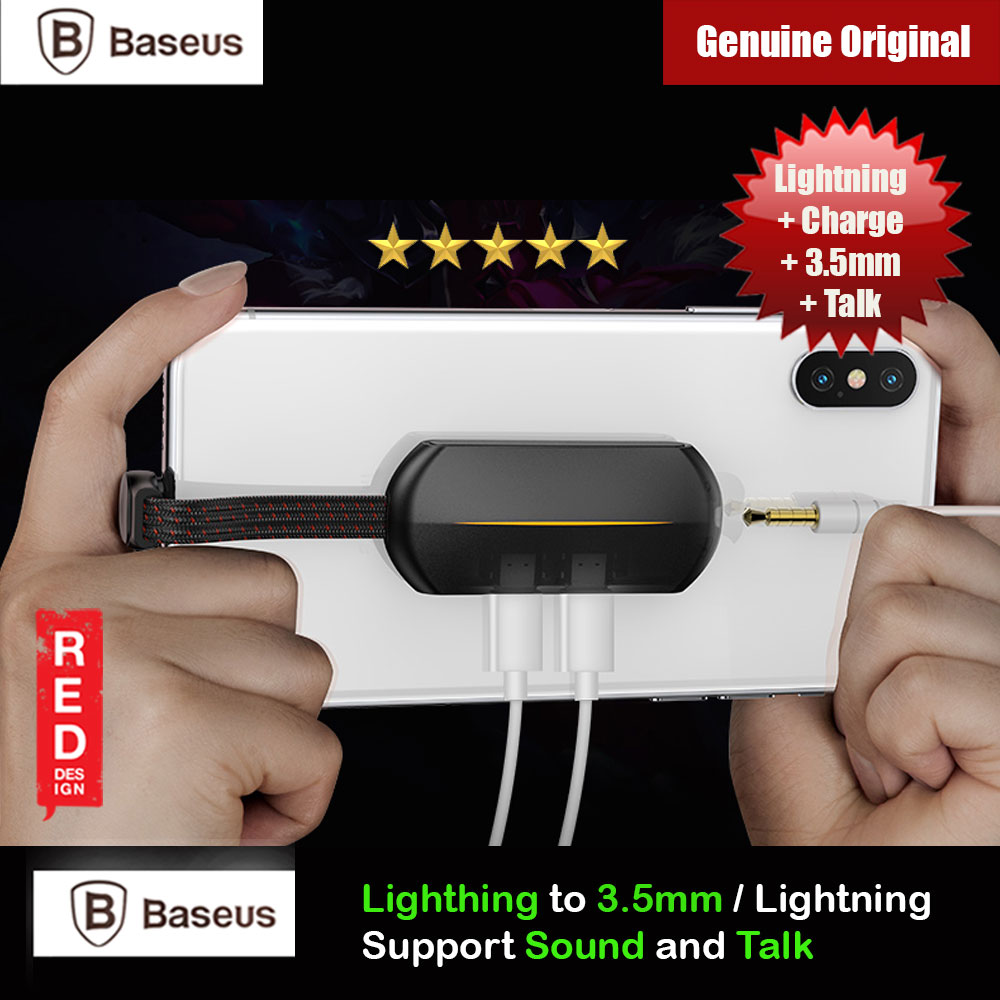Picture of Baseus Audio Converter Lightning MALE to 3.5mm and Dual Lightning FEMALE Audio and Charging Adapter Gaming PUBG FREE FIRE Listenning Mic Talk Call while charging for iPhone 8 iPhone XS Max iPhone 11 Pro Max Red Design- Red Design Cases, Red Design Covers, iPad Cases and a wide selection of Red Design Accessories in Malaysia, Sabah, Sarawak and Singapore