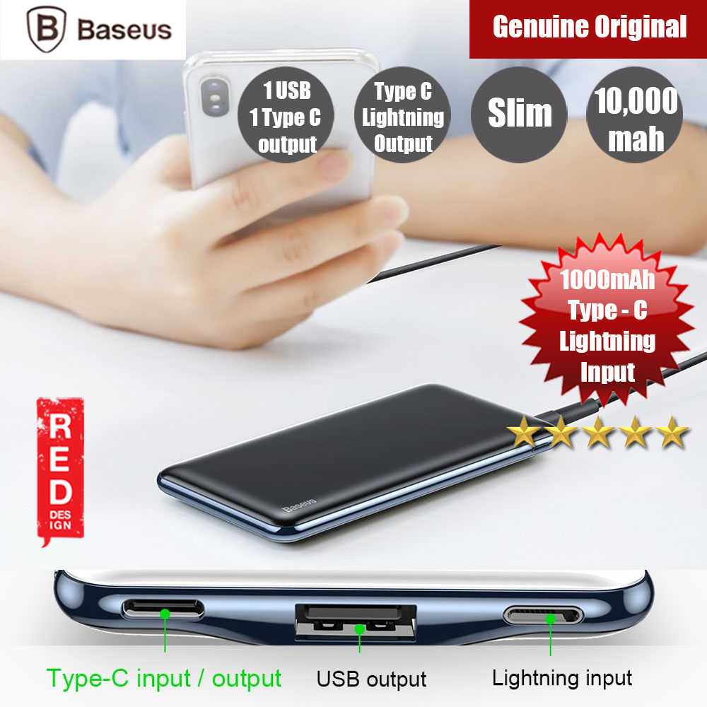 Picture of Baseus 10000mAh Power Bank For iPhone Tablets Dual Outputs USB C PD Fast Charging Powerbank (Black) Red Design- Red Design Cases, Red Design Covers, iPad Cases and a wide selection of Red Design Accessories in Malaysia, Sabah, Sarawak and Singapore