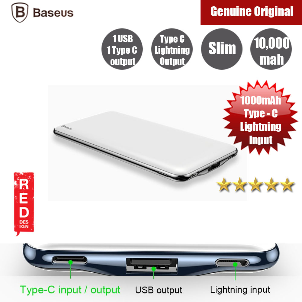 Picture of Baseus 10000mAh Power Bank For iPhone Tablets Dual Outputs USB C PD Fast Charging Powerbank (White) Red Design- Red Design Cases, Red Design Covers, iPad Cases and a wide selection of Red Design Accessories in Malaysia, Sabah, Sarawak and Singapore