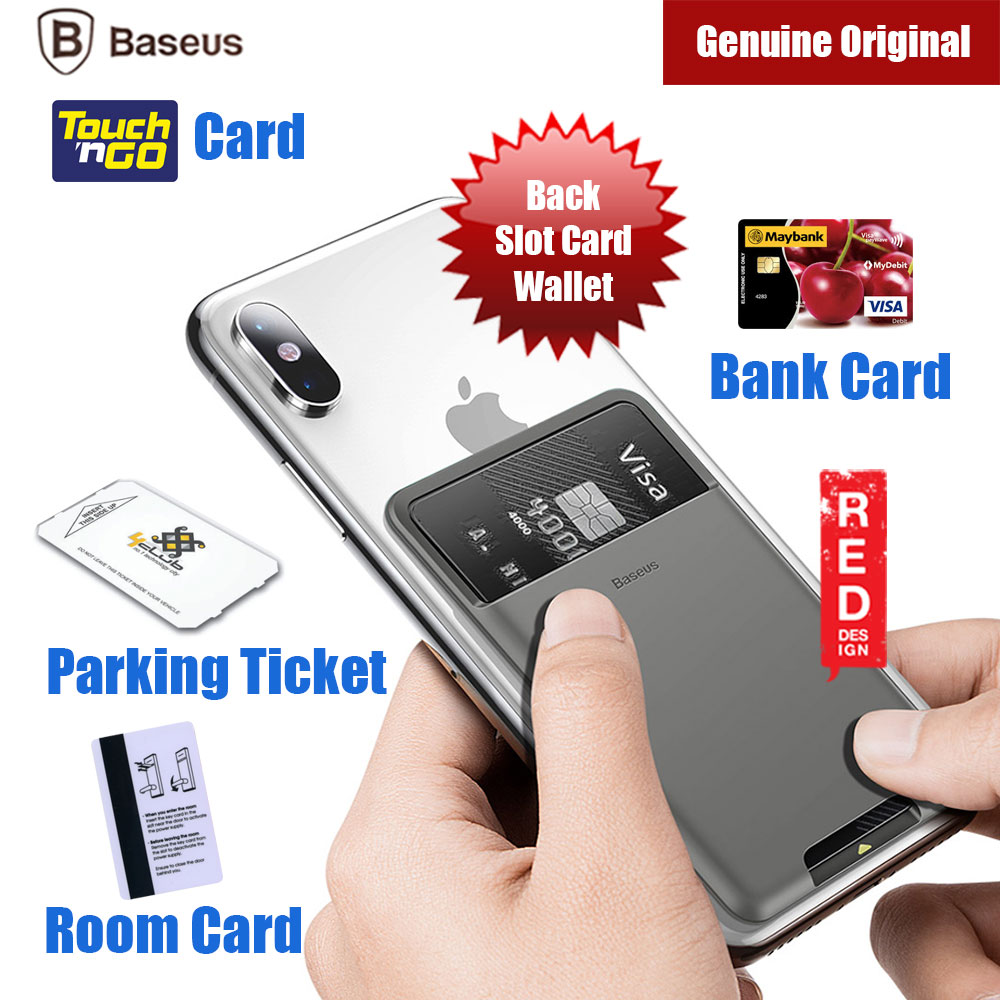 Picture of Baseus Universal Phone Back Slot Card Wallet Luxury 3M Sticker with High Quality Silicone for iPhone 11 Pro Max iPhone XS Max Samsung Galaxy Note 10 Plus (Dark Grey) Red Design- Red Design Cases, Red Design Covers, iPad Cases and a wide selection of Red Design Accessories in Malaysia, Sabah, Sarawak and Singapore