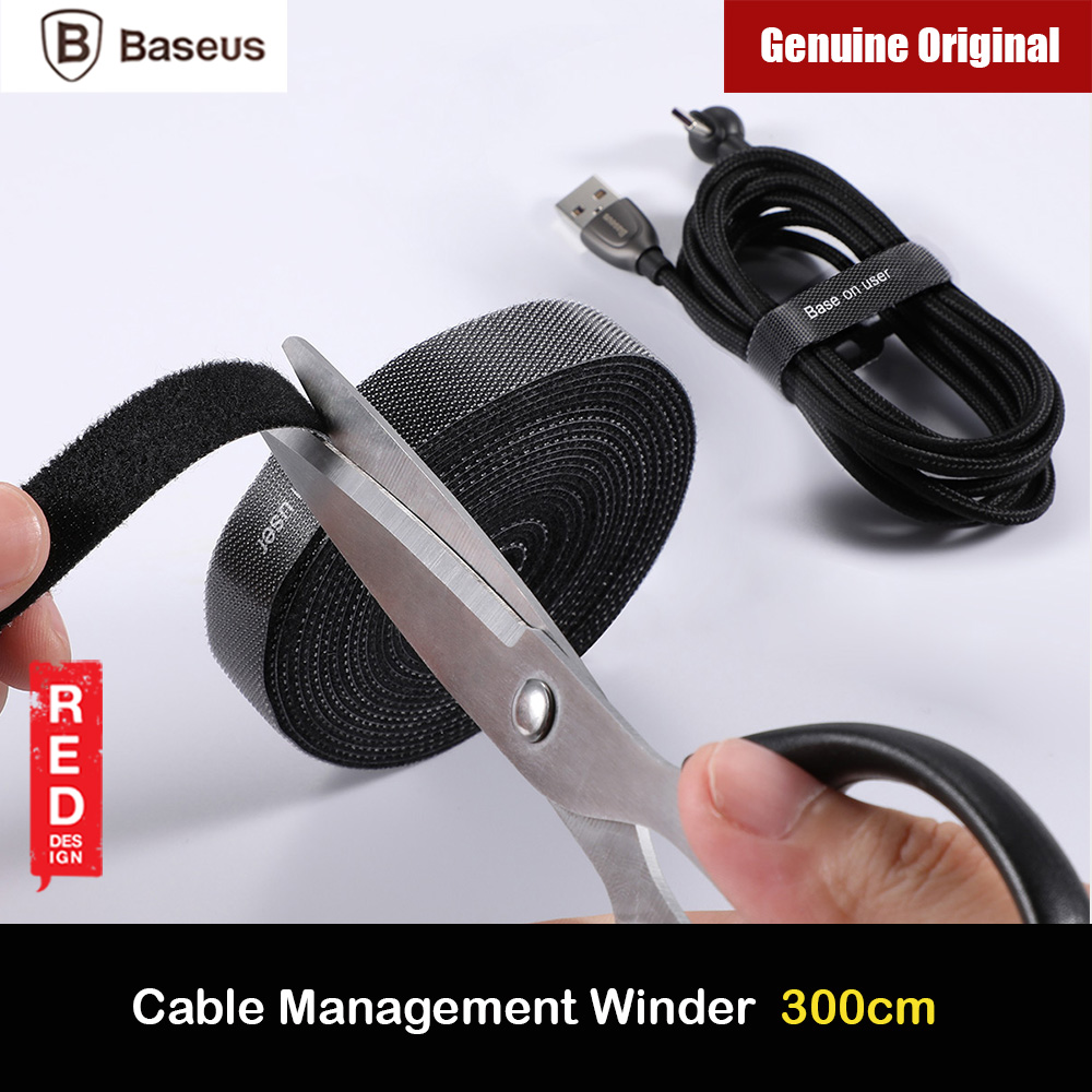 Picture of Baseus Cable Management Winder Velcro hook and loop fastener free cut strap strong velcro Strap (Black 300cm) Red Design- Red Design Cases, Red Design Covers, iPad Cases and a wide selection of Red Design Accessories in Malaysia, Sabah, Sarawak and Singapore