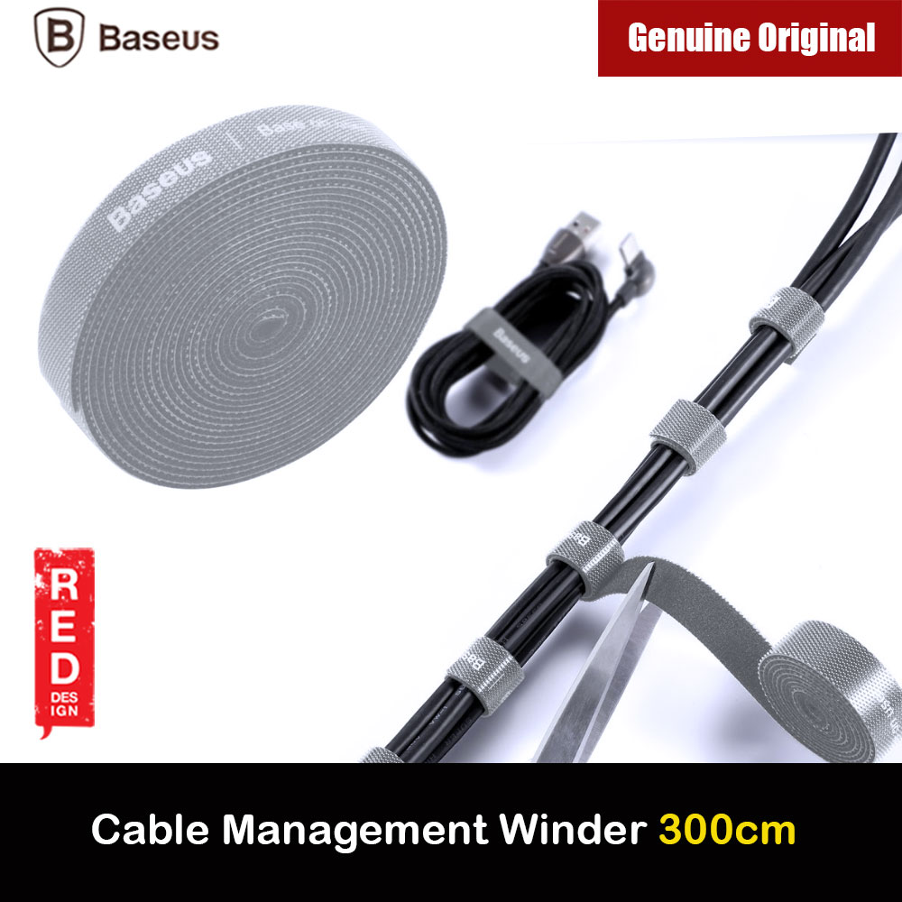 Picture of Baseus Cable Management Winder Velcro hook and loop fastener free cut strap strong velcro Strap (Grey 300cm) Red Design- Red Design Cases, Red Design Covers, iPad Cases and a wide selection of Red Design Accessories in Malaysia, Sabah, Sarawak and Singapore