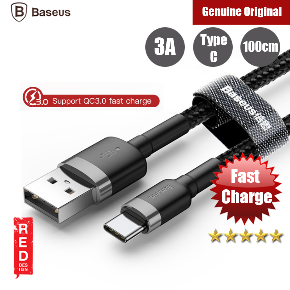 Picture of Baseus Cafule 3A Quick Charge Type C Cable for Samsung Note 9 Huawei Mate 20 Pro 100cm (Black Grey) Red Design- Red Design Cases, Red Design Covers, iPad Cases and a wide selection of Red Design Accessories in Malaysia, Sabah, Sarawak and Singapore