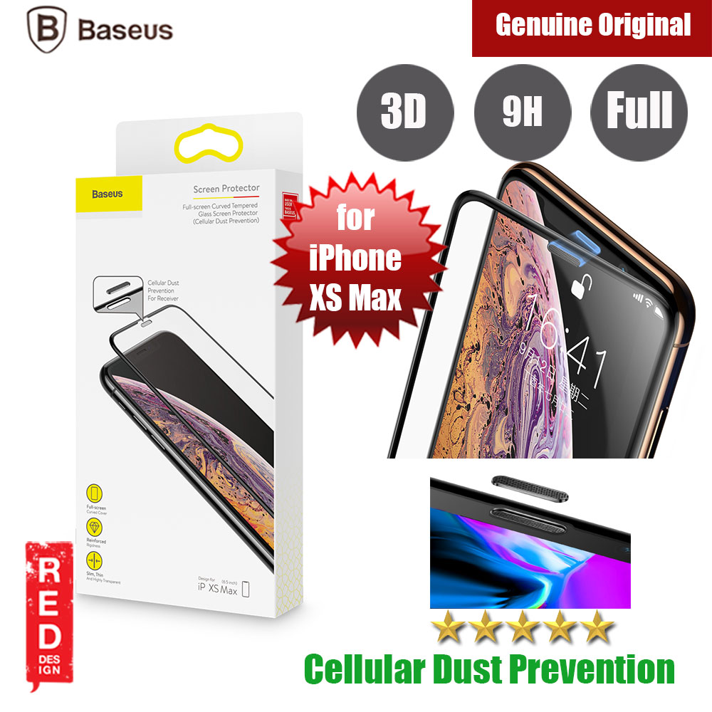 Picture of Baseus 3D Full Coverage Tempered Glass for Apple iPhone XS Max with Cellular Dust Prevention (Black) Apple iPhone XS Max- Apple iPhone XS Max Cases, Apple iPhone XS Max Covers, iPad Cases and a wide selection of Apple iPhone XS Max Accessories in Malaysia, Sabah, Sarawak and Singapore