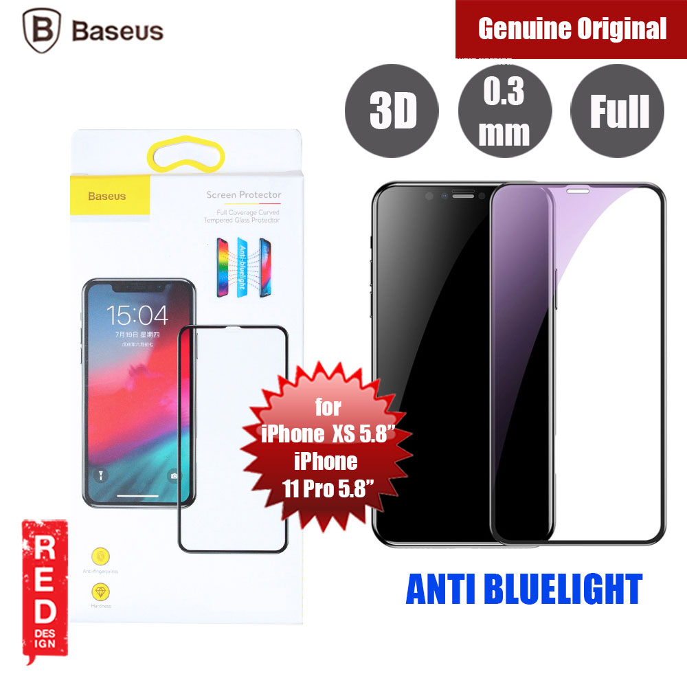 "Picture of Baseus 3D Full Coverage Tempered Glass for Apple iPhone XS iPhone X iPhone 11 Pro 5.8"" (Black) Anti Blue Apple iPhone 11 Pro 5.8- Apple iPhone 11 Pro 5.8 Cases, Apple iPhone 11 Pro 5.8 Covers, iPad Cases and a wide selection of Apple iPhone 11 Pro 5.8 Accessories in Malaysia, Sabah, Sarawak and Singapore"
