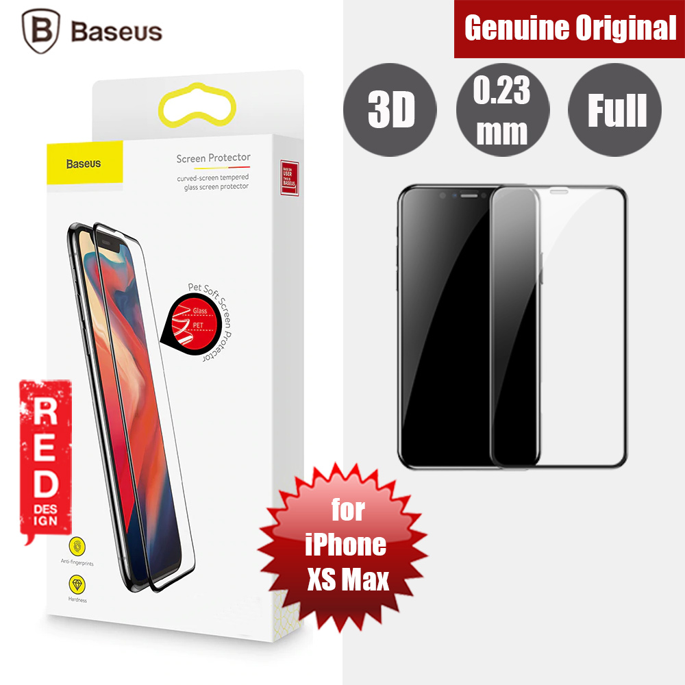 brand new 1597e ecfb3 Baseus Soft PET Edge 3D Tempered Glass for Apple iPhone XS Max (Black)